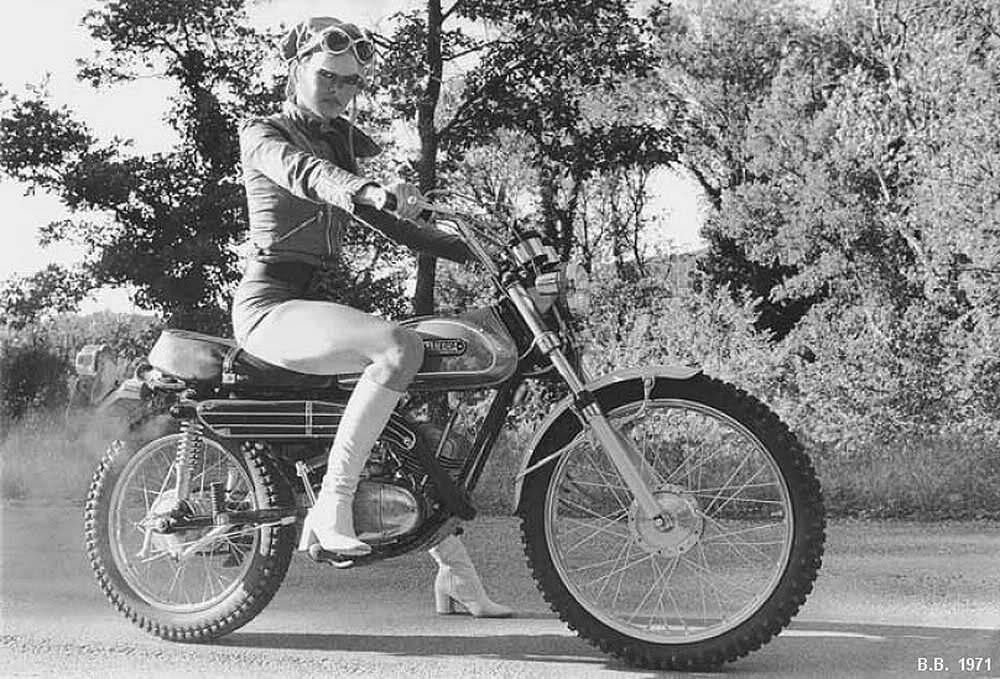 There are some stunning pictures of Brigitte Bardot on all manner of motor vehicles, this shot of her on an early 70s Yamaha two-stroke ticks all the right
