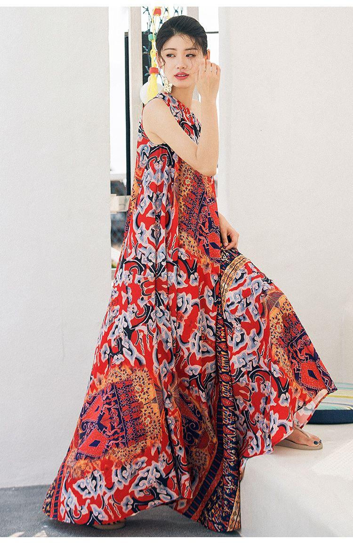 82cdf8dab8 VERRAGEE retro one shoulder dress women 2018 printed vintage Chiffon  sleeveless summer floor length halter Maxi beach dress