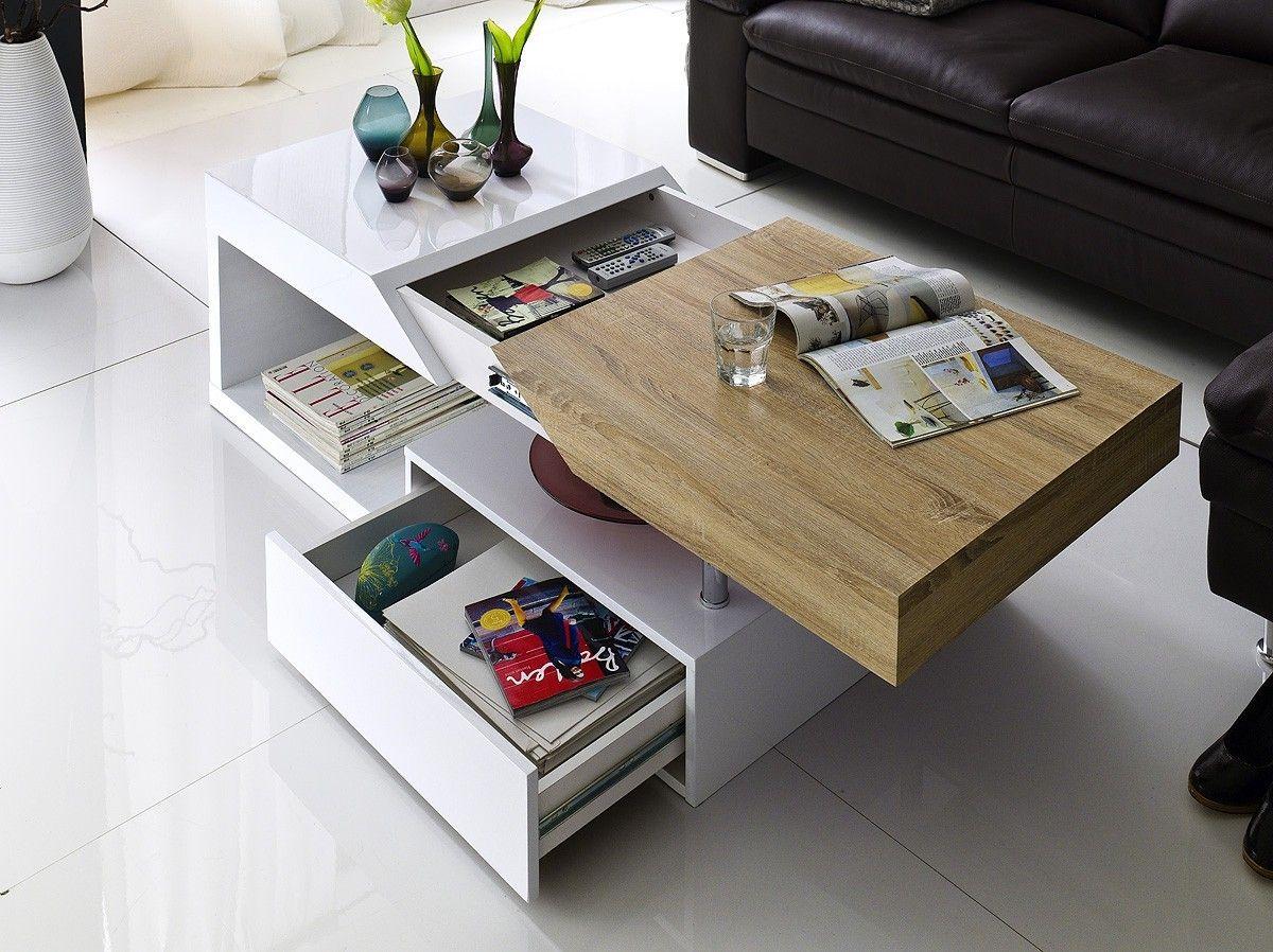 Table Basse Avec Rangement Coloris Blanc Laqu Et Bois Table  # Meuble Avec Cheminee En Blanc Laque