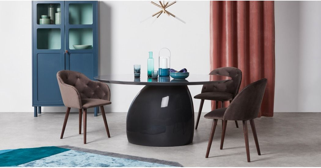 Rosinda Dining Table Sky Grey Made Com Oval Table Dining Dining Chairs Table