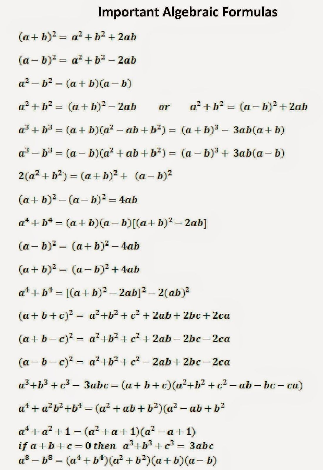 Ssc Adda Algebraic Formulas Part 1 Can Diodetransistor Logic Electronics And Electrical Quizzes Eeweb Cant Believe Someone Actually Organize This List Prove The Second To Last One