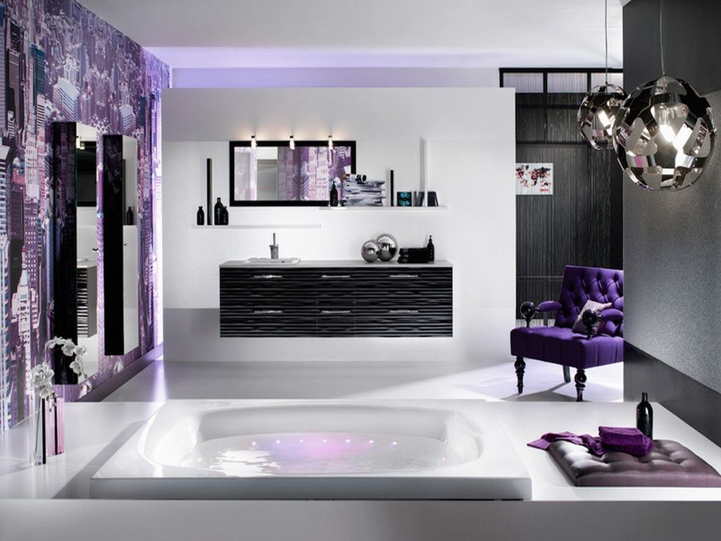 Gray And Purple Bathroom Ideas Part - 37: Heavenly Purple Bathroom From Delpha