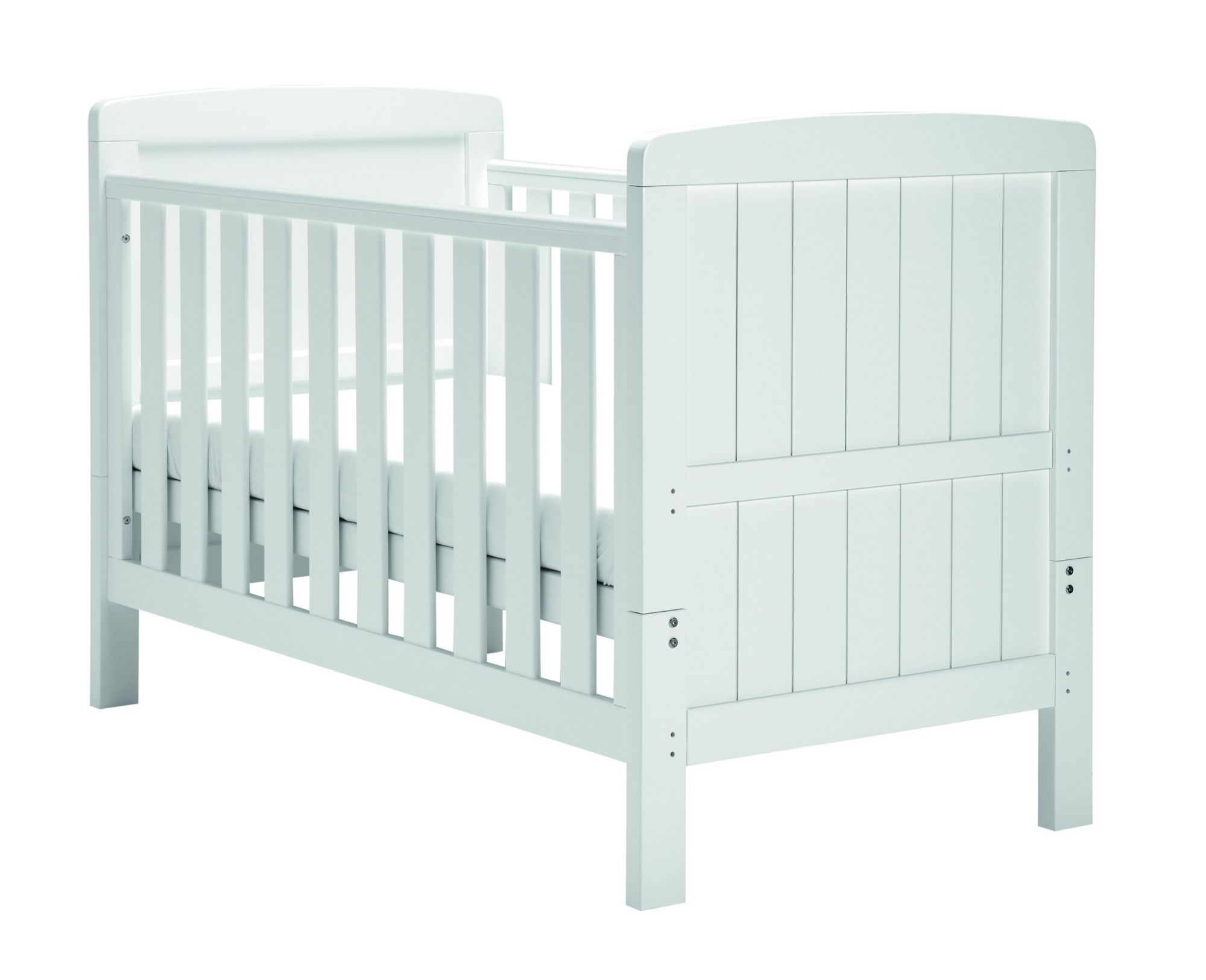 New White Wodden Baby Cot Bed drawer EASTERN SALE teething rails mattress