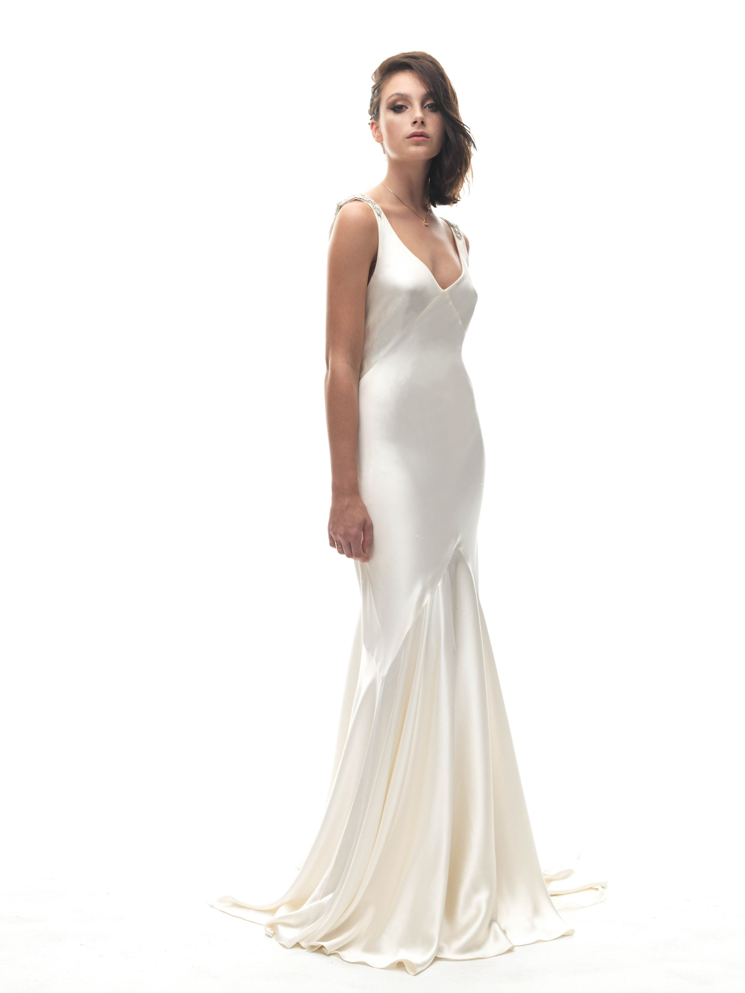 7c9fc38f43120 Bias cut silk charmeuse gown with full bias circle cut hem panels, Daxa  features a low V neck front and a swathe of silk charmeuse cut into a cowl  at the ...