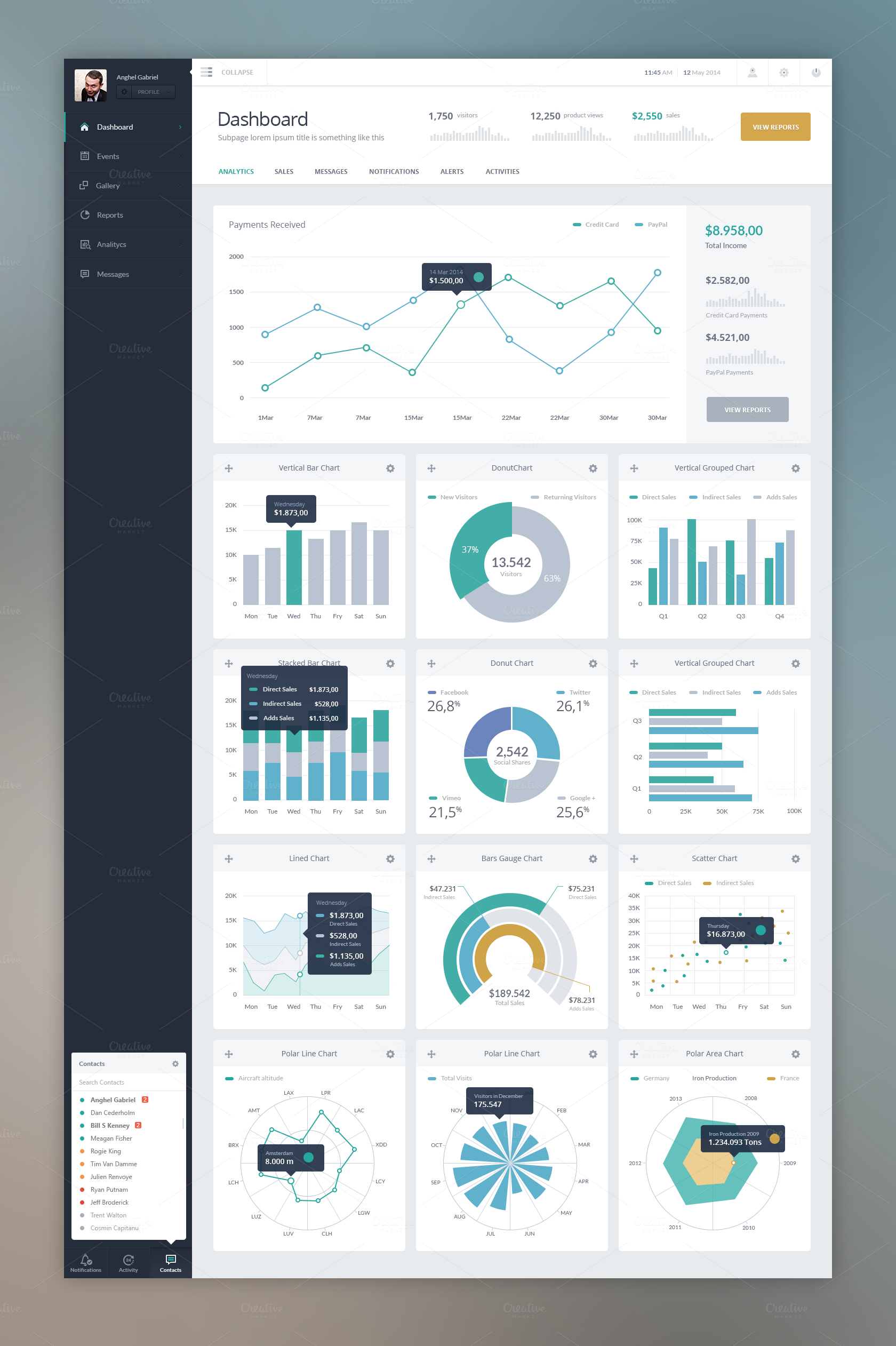 Dash - Vol 1 Charts by AnghelGabriel on Creative Market ...