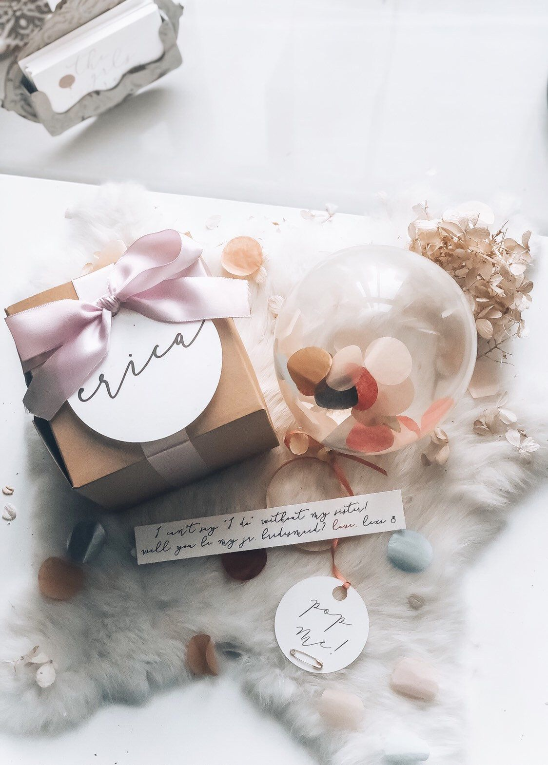 SET OF 1 Custom Gift Box How to ask your Bridesmaid Pop me balloon box Will you be my Maid Of Honor