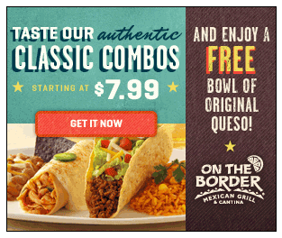 on the border coupons free original queso and free appetizer or