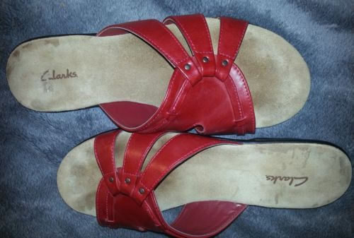 Red CLARKS women's flat leather sz 8 M sandals Brazil in Clothing, Shoes & Accessories | eBay