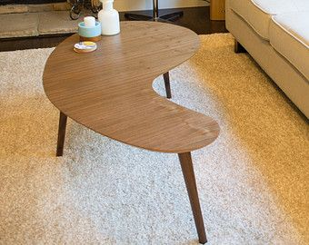 MidCentury Modern Coffee Table Walnut Kidney BeanBoomerang - Mid century modern kidney shaped coffee table