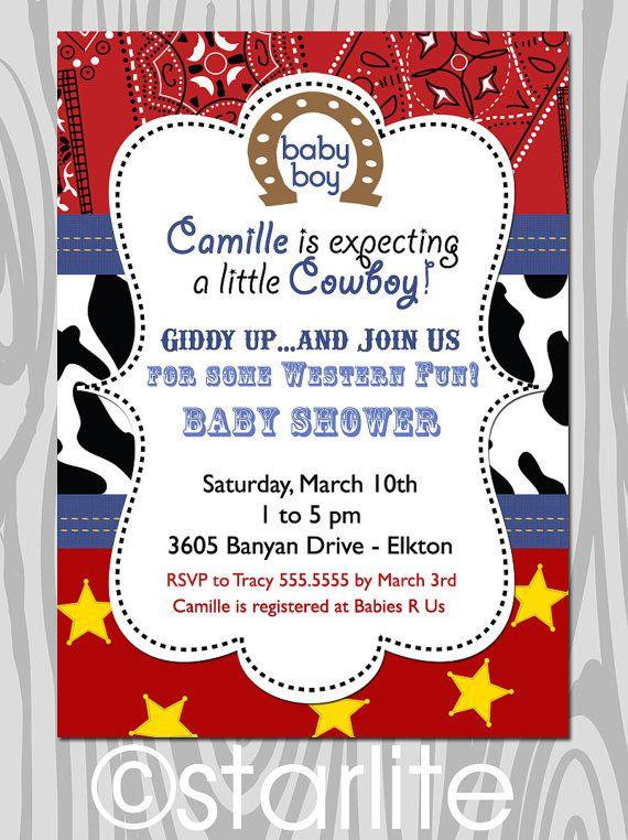 Western Theme Baby Shower Invitation Red Bandana By