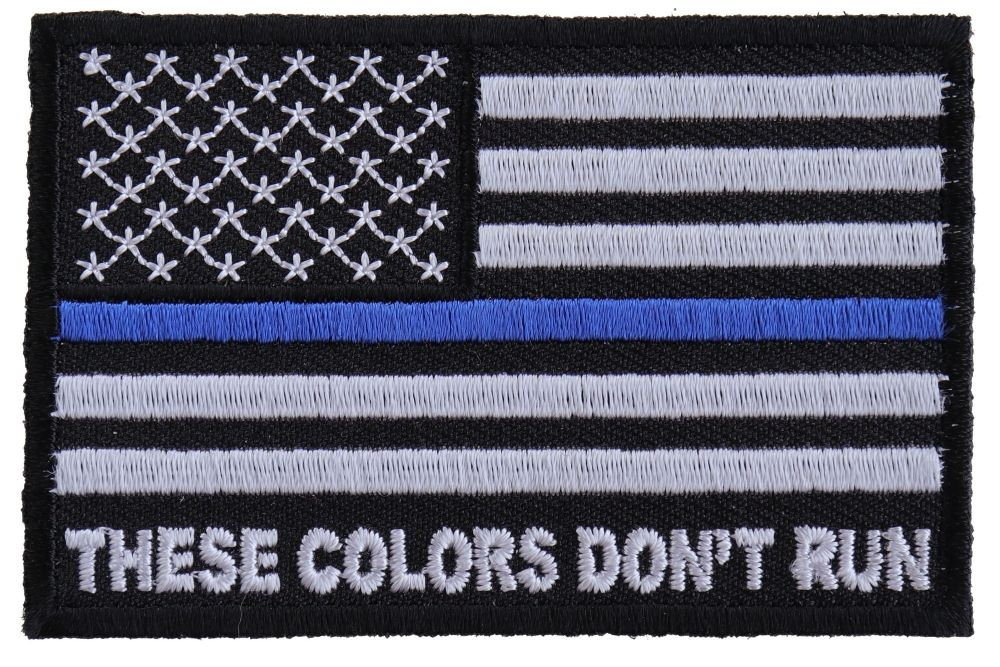 These Colors Don T Run Blue Line Us Flag Patch Flag Patches Blue Line Flag