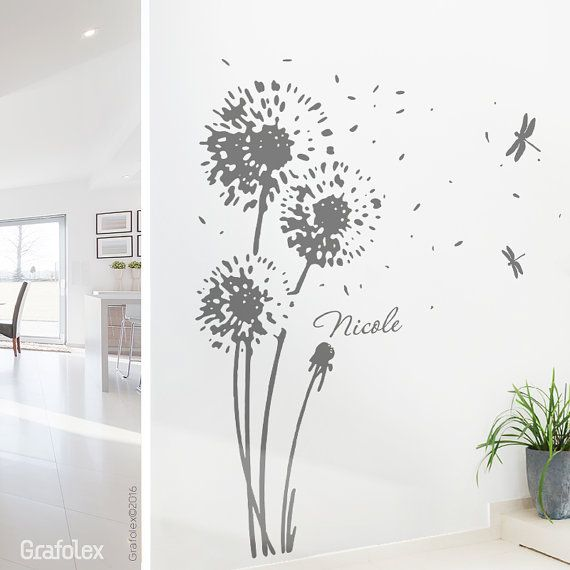 Wall Flower And Your Name   Dandelion Wall Sticker Wall Sticker Wall  Decoration Dandelion Floral Wall Decal Decor Vinyl Name W707
