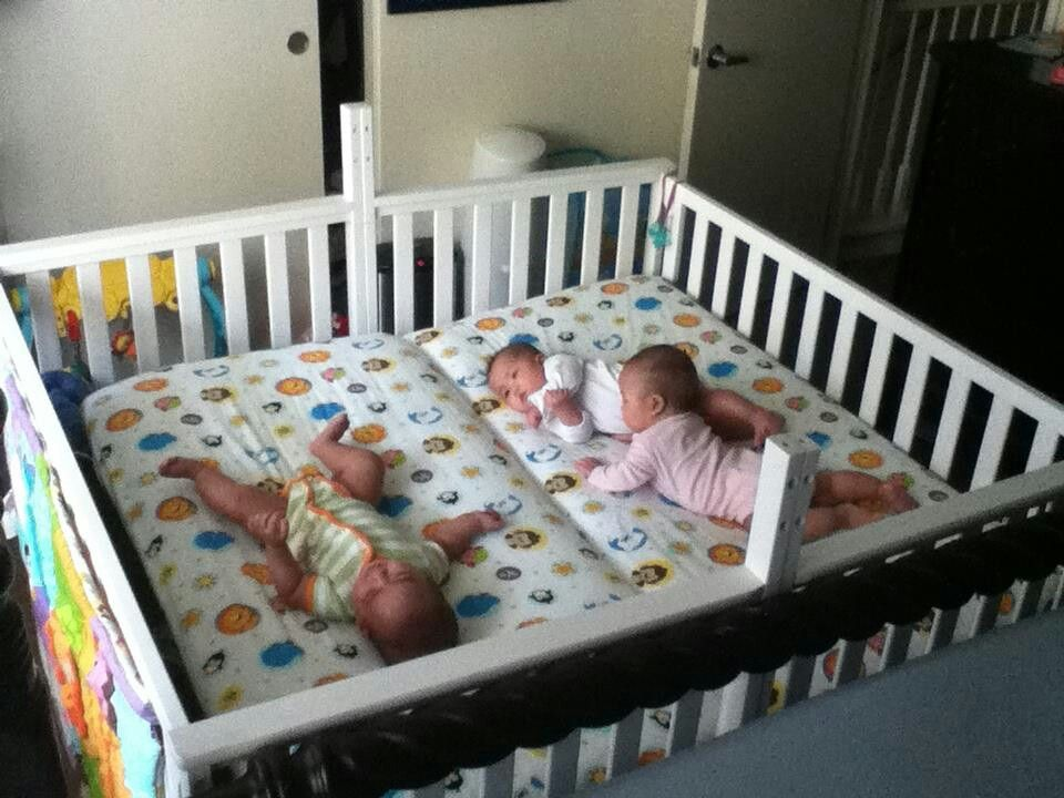 Two Cribs Screwed Together To Make A Twin Crib Twin Baby Beds Twin Baby Rooms Twin Cribs