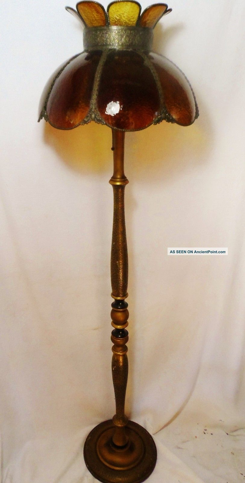 Victorian Turned Wood Antique Floor Lamp W/ Amber Glass Tiffany Shade vintage lamp. Circa1900-1940
