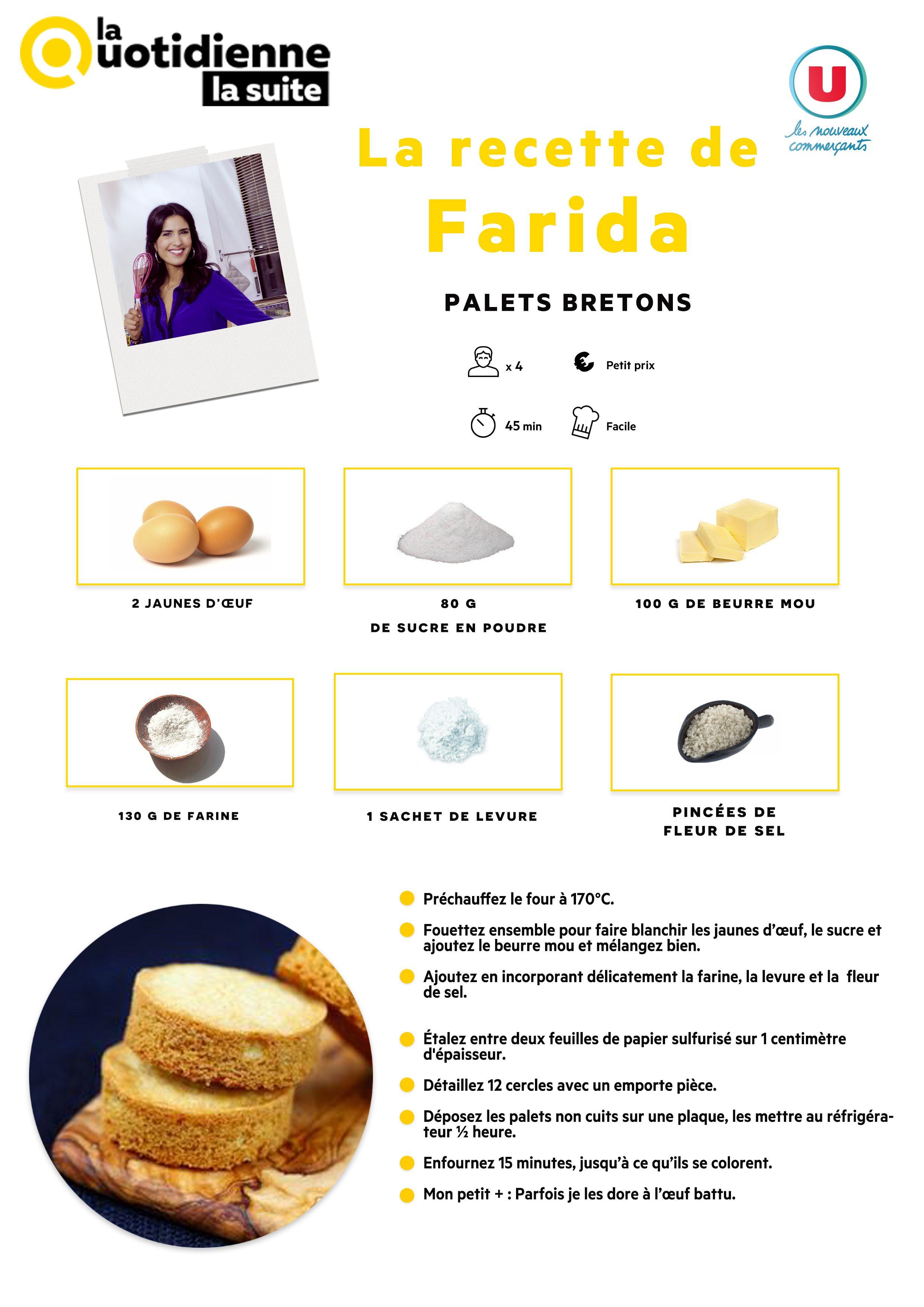 La quotidienne la suite la recette de farida palets bretons cuisine dessert pinterest - Recette cuisine quotidienne ...
