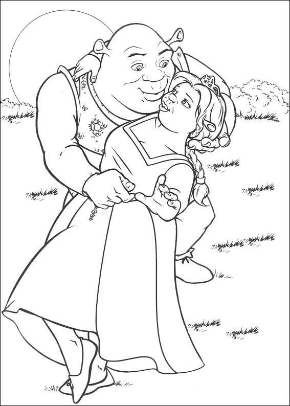 Shrek and Fiona from the movie Shrek | Coloring Pages for Kids ...