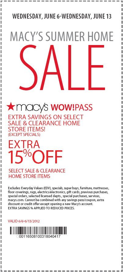 15 Off Sale Clearance Home Store Items At Macy S Coupon Macys Coupons Printable Coupons Clothing Coupons