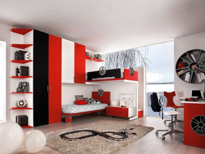 astonishing red white modern bedroom | Amazing Black Red and White Sports Themed Bedroom | Baby ...