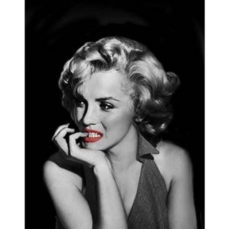Red Lips Screens Marilyn Monroe Black And White Biting Her Nails Canvas Wall Art 15 Inch X 19