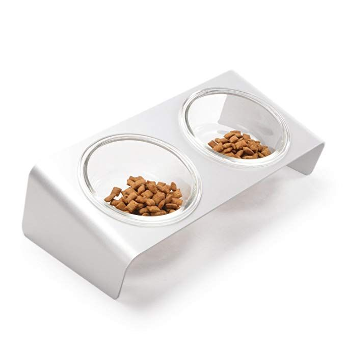 4claws Elevated Cat Feeder With Glass Bowls Cat Dog Pet Related
