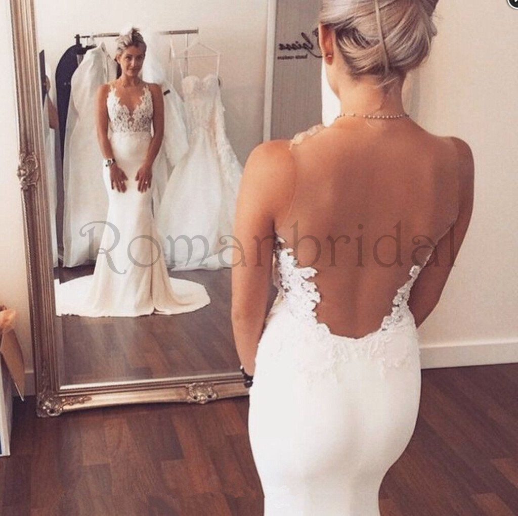 charming sexy backless vneck mermaid appliques prom gown