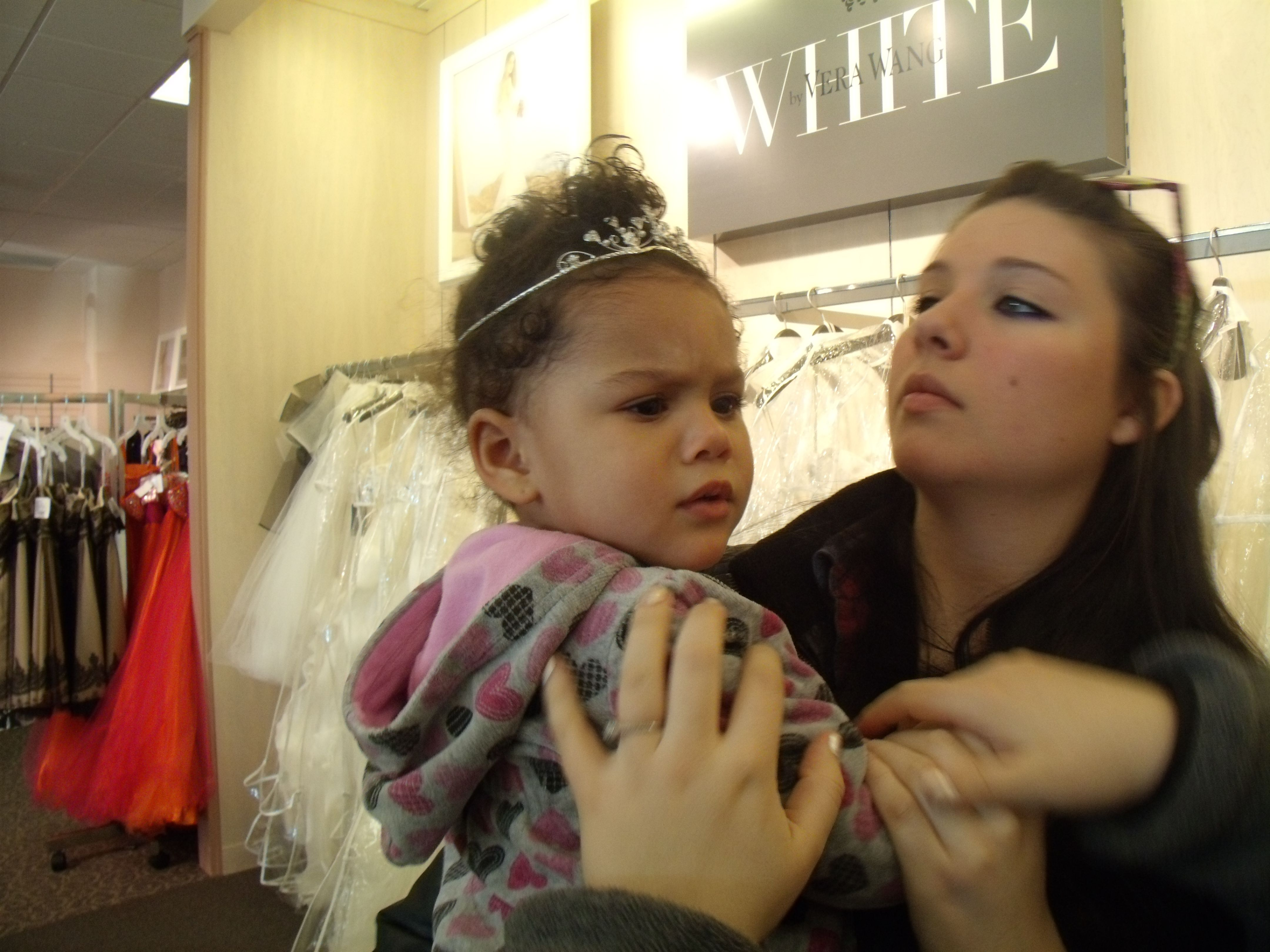 """cranky but gorgeous! my niece in her """"possible"""" wedding tiara!"""