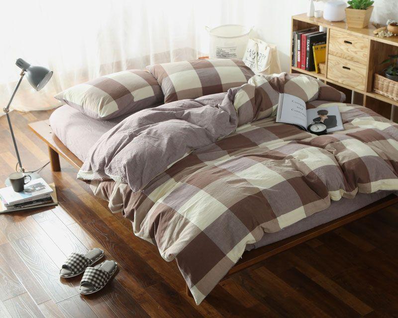 Luxury Bedding Set Geometric Plaid, Queen Plus Bed Sheets