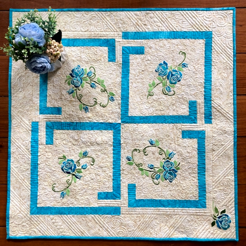 Blue Roses Quilted Table Topper