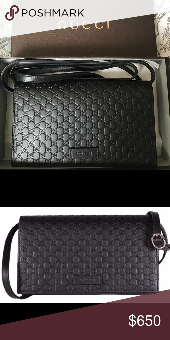 030d811705b1 New Black Gucci MicroGuccissima Crossbody Wallet Brand New in original  packaging. Authentic from the Gucci store in NY. Can provide original  copy's of ...