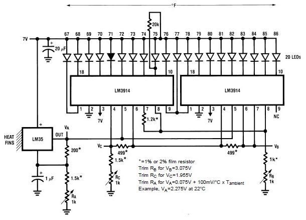 Lm35 Lm3914 Electronic Analog Thermometer Schematic