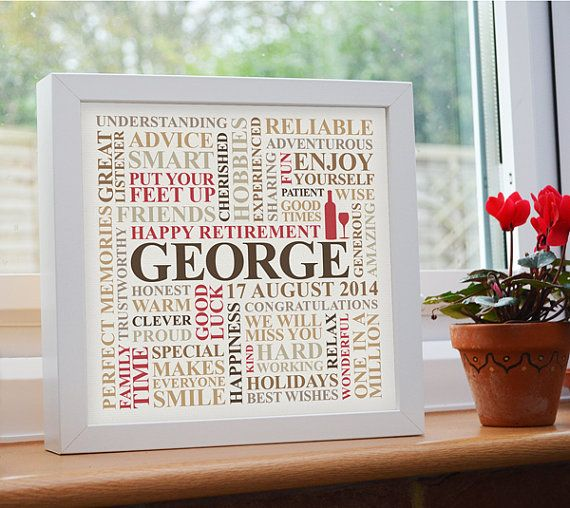 Framed Retirement Print Personalised Unique Word By