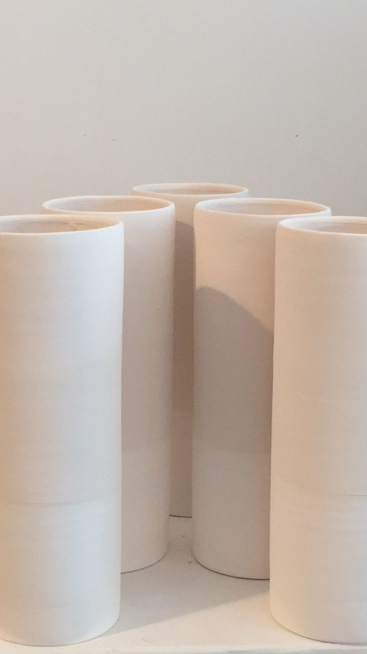 By Annemieke Boots Ceramics powdery glazed vases porecelain
