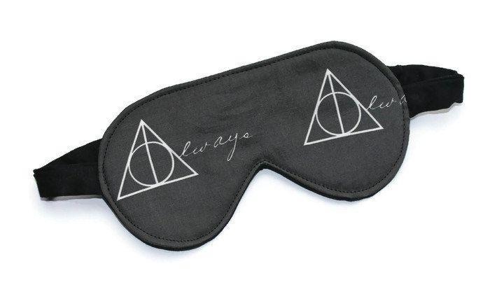 Sleeping Mask, Eye Mask, Travel Mask, Spa Mask, Blindfold, Handmade in Canada, Harry Potter, Deathly Hallows Symbol, Black Cat-sessorize!