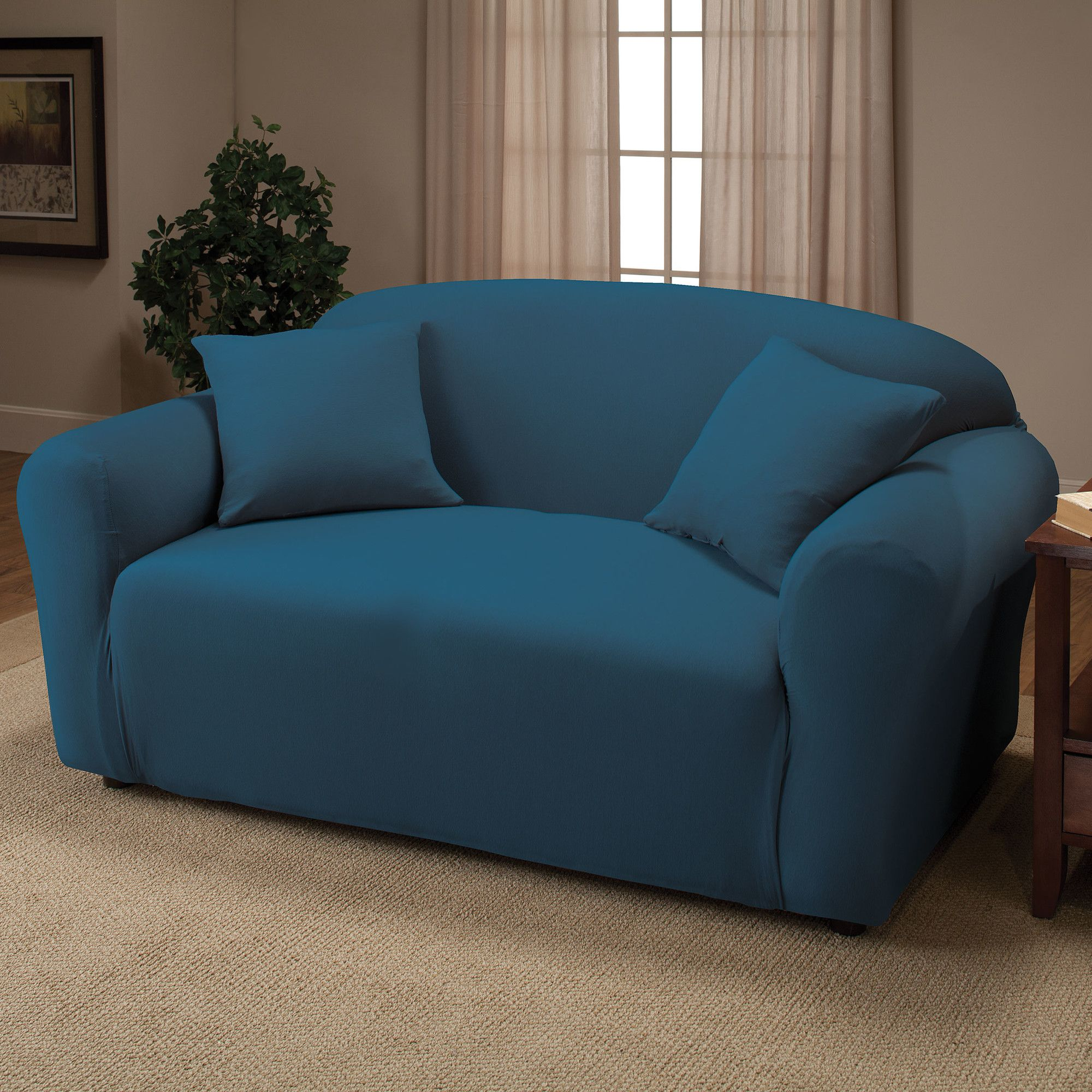 stretch jersey loveseat slipcover for sale wayfair for the home loveseat slipcovers. Black Bedroom Furniture Sets. Home Design Ideas