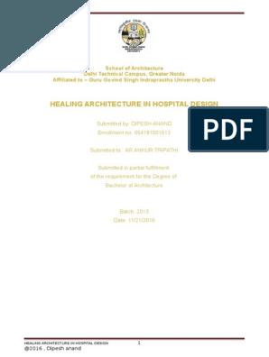 DISSERTATION ON HEALING ARCHITECTURE IN HOSPITAL DESIGN | hospital