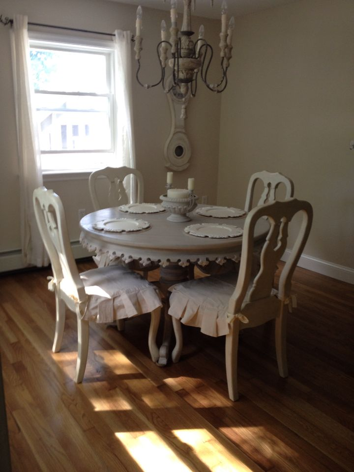 Pottery Barn Distressed Antique White Queen Anne Chairs. Swedish,