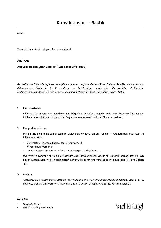 Kunstklausur Plastik Rodin Unterrichtsmaterial Im Fach Kunst In 2020 Unterrichtsmaterial Farben Lehre Sekundarstufe