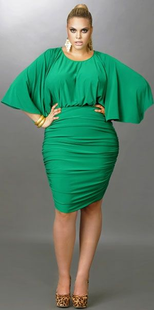 """5c5097ce342 Our Plus Size Find of the day is the Gia Batwing Ruched Dress – Emerald  from Monif C. The """"Gia"""" is the perfect party dress in gorgeous vibrant  colors."""