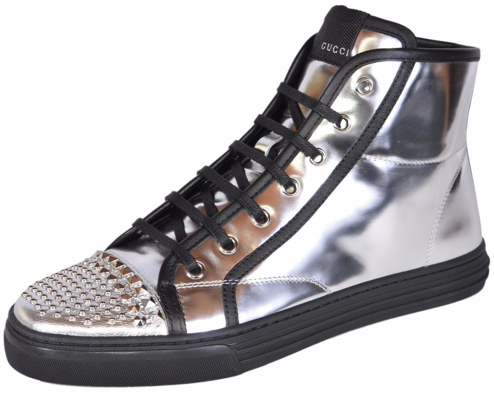 6491493fa4a062 Gucci 370875 Women s Metallic Silver Leather Studded Sneakers U.S 85 ...