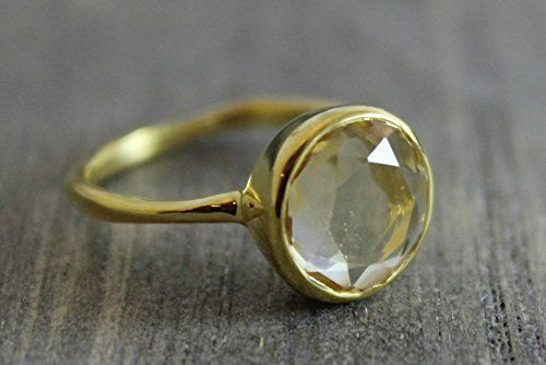 4d748c0d5 Citrine Gold Plated Sterling Silver Ring by Sophia Rose, size 8 ***  Remarkable product available now. : Handmade Gifts