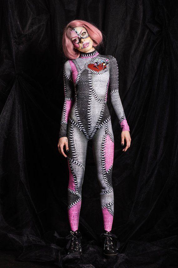 Szytypyl Womens Ladies Adult Halloween Cosplay Costume 3D Style Bodysuit Jumpsuit Onesies Catsuit