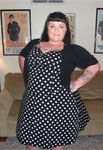 Black Plus-Size Rockabilly Polka-Dot Halter Dress