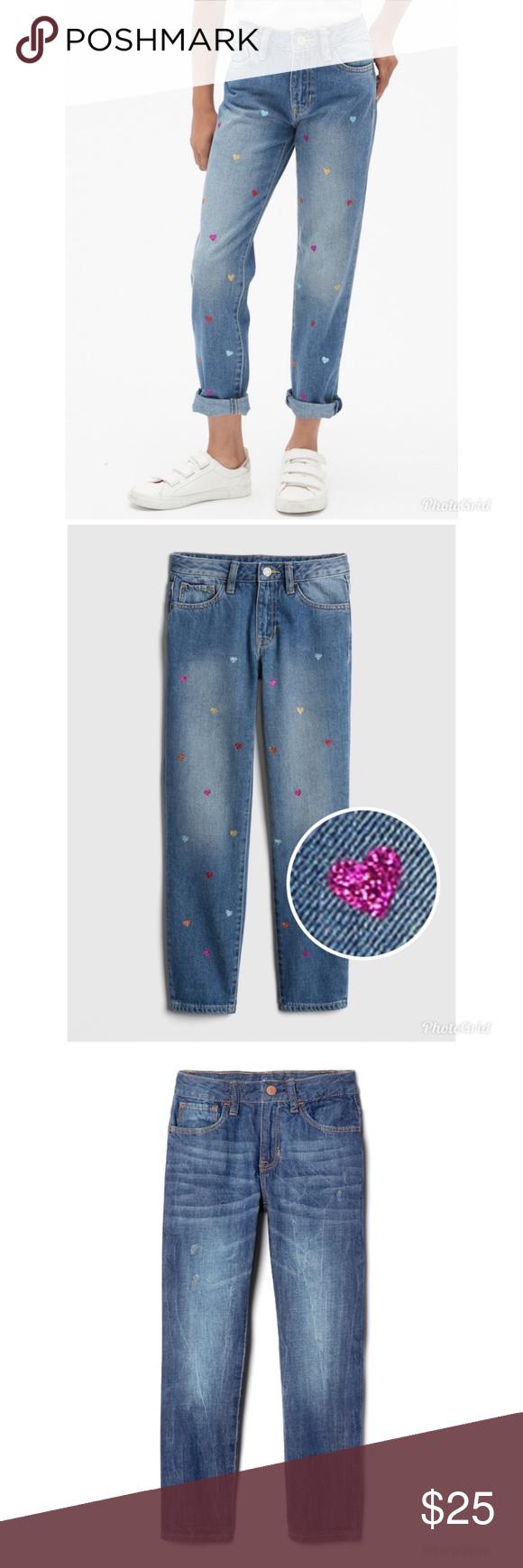 Gap NWT: Glitter Heart Girlfriend Jeans   Girlfriend jeans