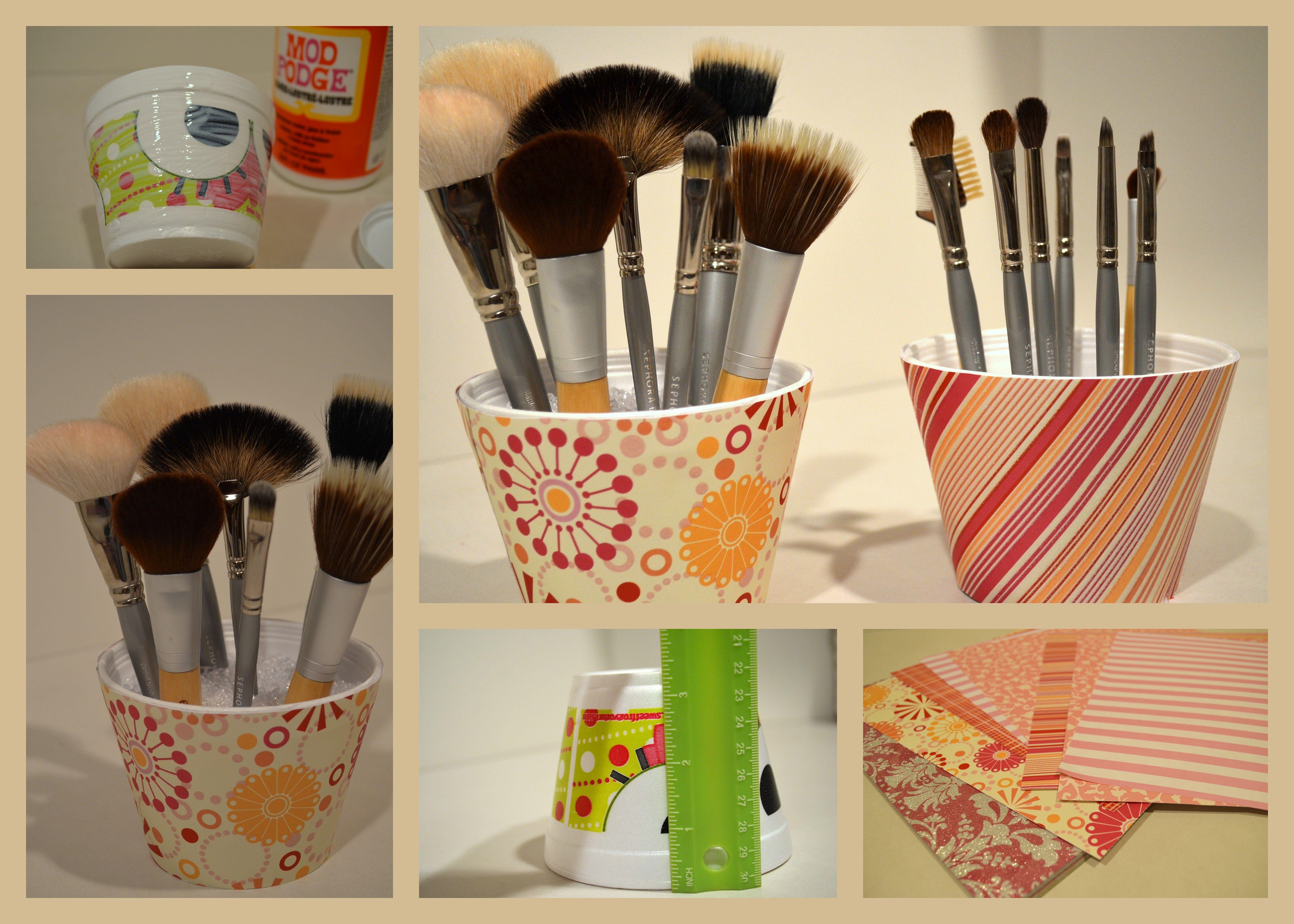 DIY Makeup Brush Holder Makeup organization, Diy makeup, Diy