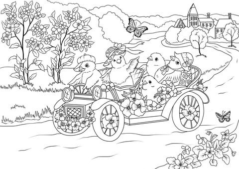 Easter Chickens In The Retro Car Are Leaving The Village Coloring Page From Easter Category S Easter Coloring Pages Christmas Coloring Books Cat Coloring Book