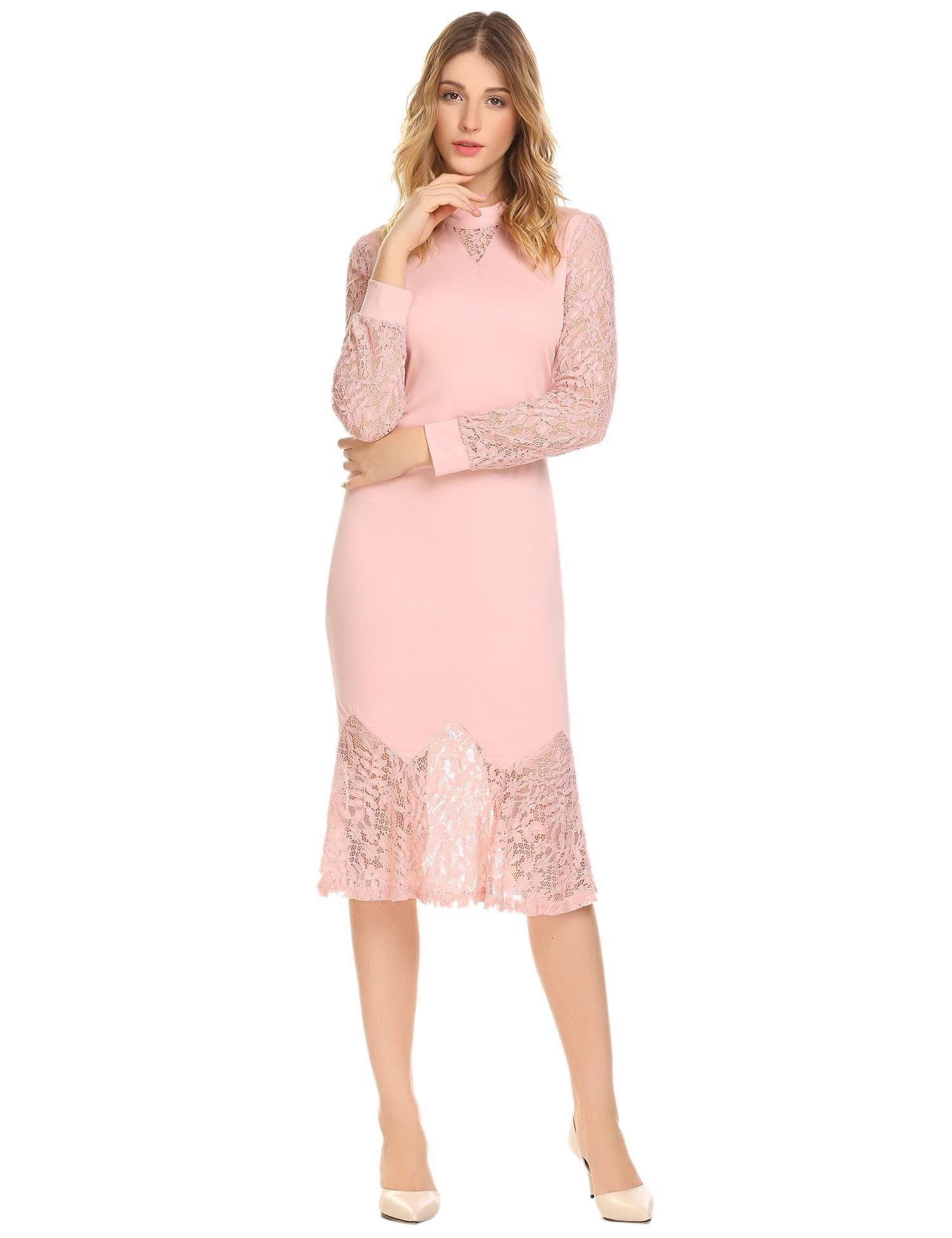 Bifast womens elegant floral lace peplum open back long sleeve