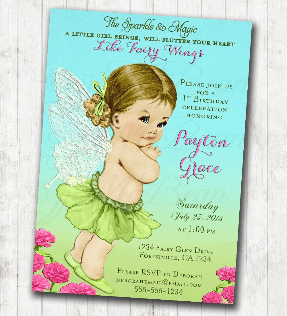 Fairy Birthday Invitation Fairy Party Invitation Flower Fairy Custom ...