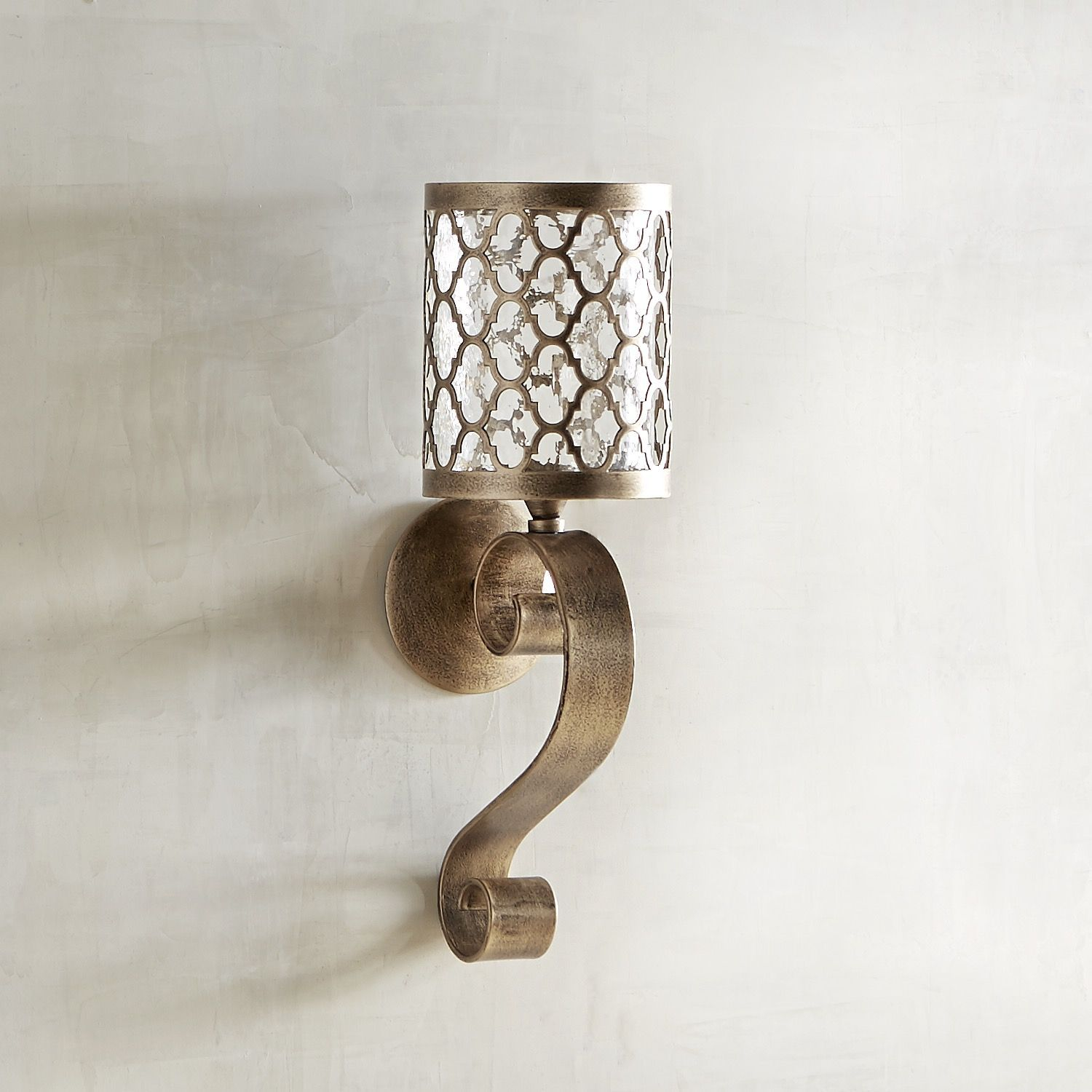 Quatrefoil Scroll Small Candle Wall Sconce in 2020 ... on Silver Wall Sconces For Candles id=89713