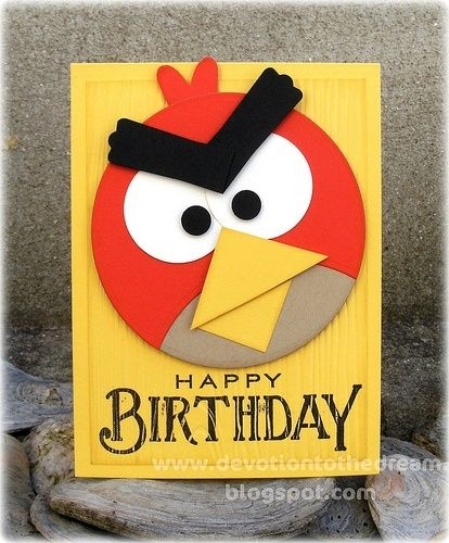 Angry Bird By Gena Kids Birthday Cards Punch Art Cards Kids Cards