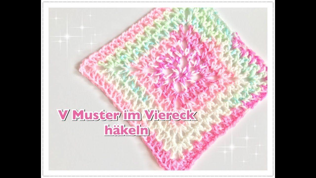 V Muster im Viereck häkeln / V Muster Granny häkeln / Babydecke ...